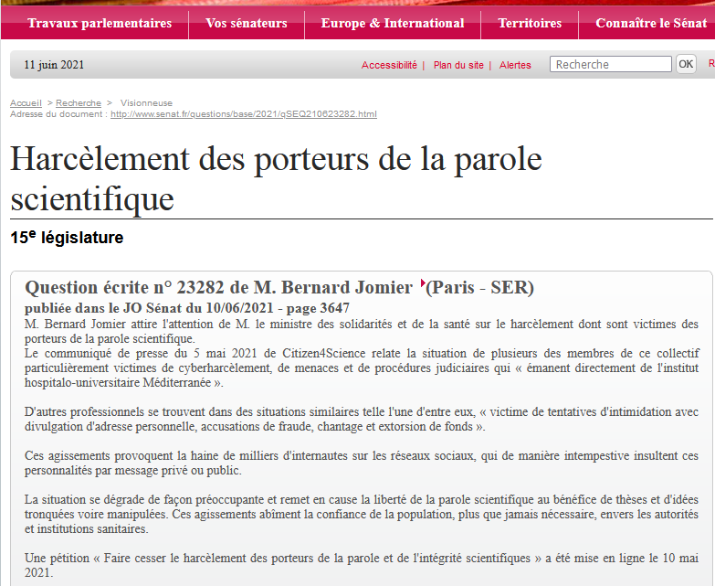 Le communiqué-pétition de Citizen4Science demandant la protection de la parole scientifique harcelée portée par le sénateur Bernard Jomier avec une question écrite à Olivier Véran