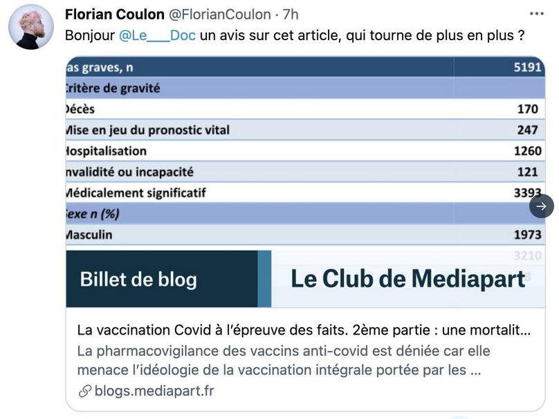 """Debunk du billet de blog """"La vaccination Covid à l'épreuve des faits. 2e partie"""" de Mucchielli, par Le Doc"""