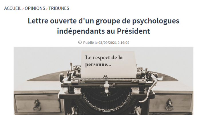 Réponse à la lettre ouverte d'un groupe de psychologues indépendants au Président